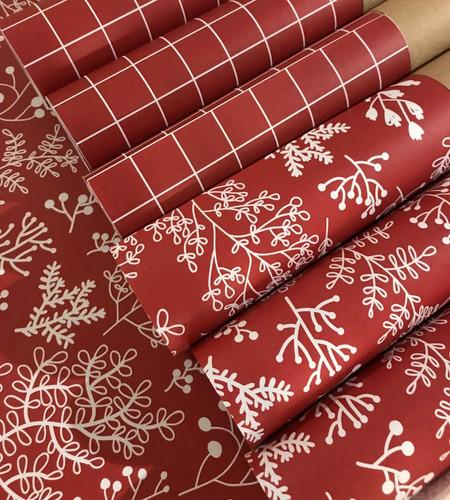 papel estampado scrap encuadernación floreado rojo navidad