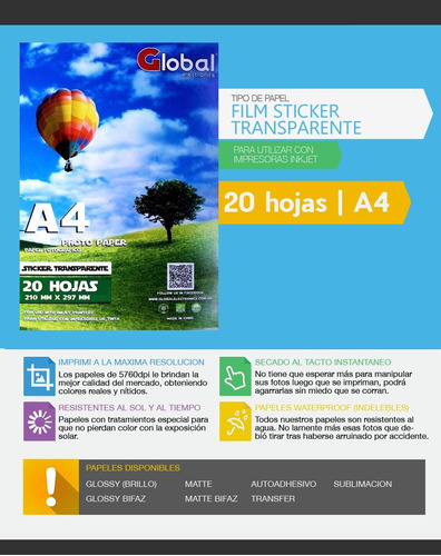 papel film a4 transparente acetato sticker 120 gr 500 h