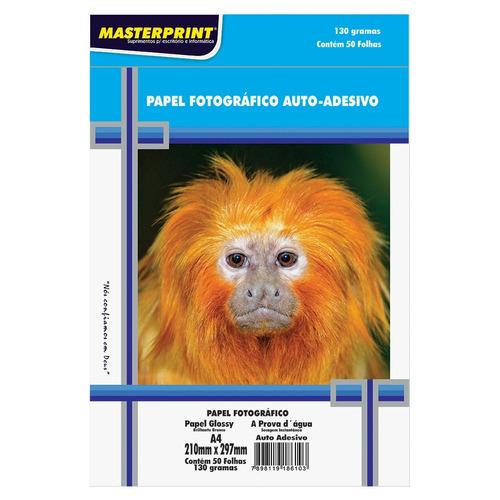papel foto adesivo  masterprint a4 130 gramas 100 folhas