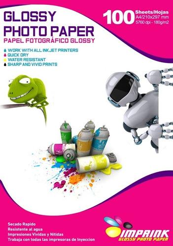 papel foto brillante a4 180gr/100 hojas..envio gratis x 5 un