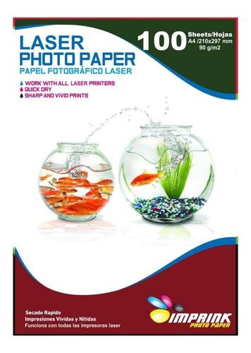 papel foto para impresora laser brillante a4 de 90g/100hojas
