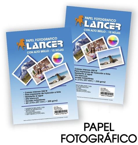 papel fotográfico a4 - 230gr para tinta continua 100 unidad
