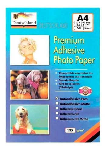 papel fotográfico a4 adhesivo glossy 50 unidades