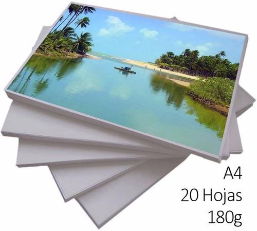 papel fotográfico a4 resma de 20 hojas de 180g calidad a ®