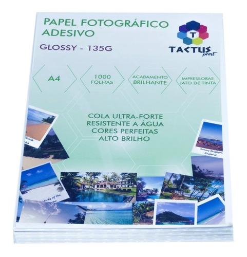 papel fotográfico adesivo 135g - prova dágua- 1000 folhas a4