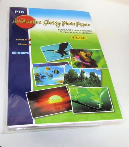 papel fotografico adhesivo brillante a4 x 50 hojas