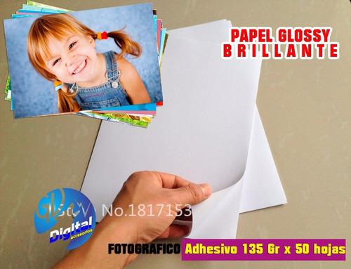 papel fotográfico adhesivo brillante x 50 hojas a4