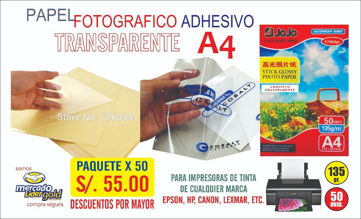 Papel Fotografico Adhesivo Transparente A4 X 50 S 5500 S 5500