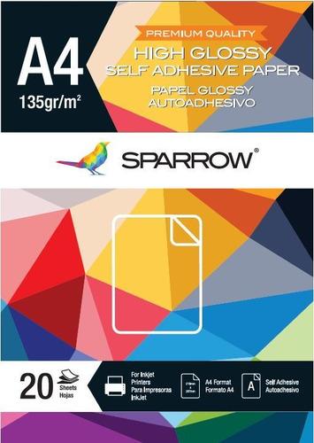 papel fotografico autoadhesivo 135gr brillante x 20 hojas a4