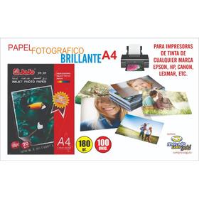 Papel Fotografico Brillante A4 180 Gr Paq X 100 S/. 28.00