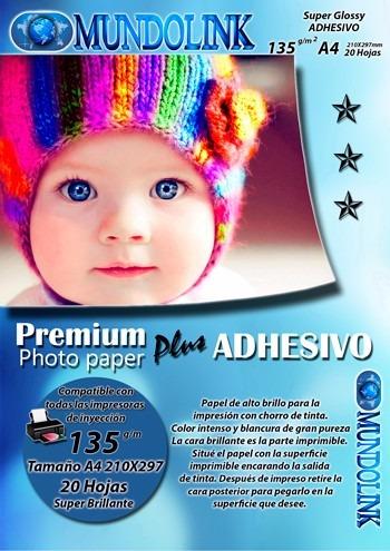 papel fotografico brillante adhesivo stiker 20 hojas  tam a4