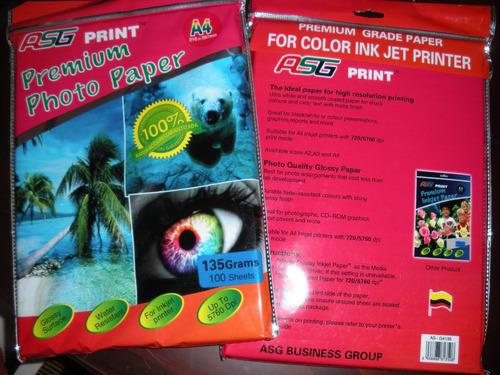 papel fotográfico brillante glossy 135grms a4 100 hojas