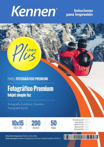 papel fotográfico brillo 10x15 kennen premium 200gr 100hjs