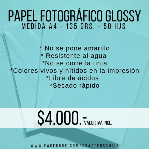 papel fotográfico glossy adhesivo - 135 grs. - a4 - 50 hjs.