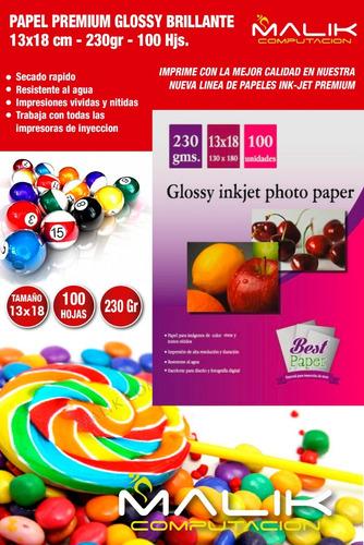 papel fotografico glossy brillante 13 x 18 cm 100 hjs 230 gr