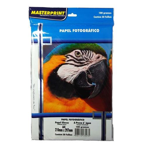 papel fotográfico glossy masterprint a4 180 gramas 350 folha
