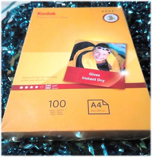 papel fotográfico kodak brillo-a4-240 gr x 100 unid.