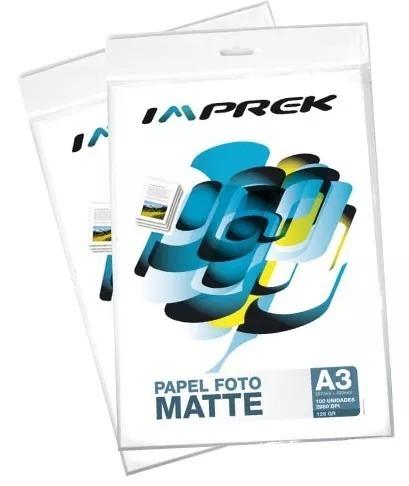 papel fotografico matte a3 128gr 100 hojas imprek premium