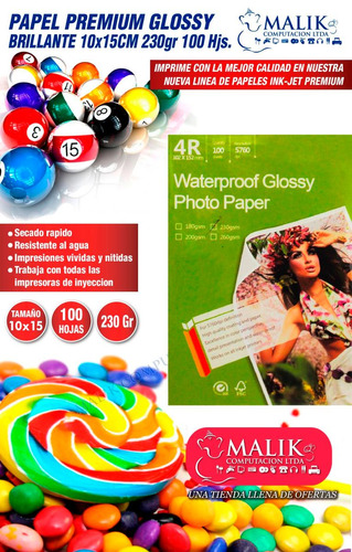 papel glossy 230gr 100 hojas 10x15cm premium