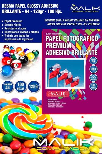 papel glossy adhesivo 100 hojas 120gr a4 env gratis x2 un