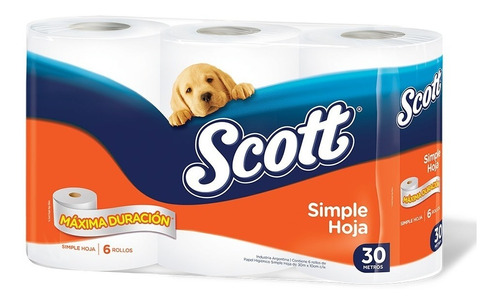 papel higienico scott simple hoja 30 metros x 6 rollos