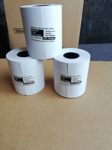 papel mindray d3 y d6  rollo 50mm x 20 mts 10 unid