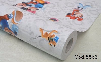 Papel mini y mickey adhesivo pvc empapelar lavable 1x1 for Precio papel empapelar