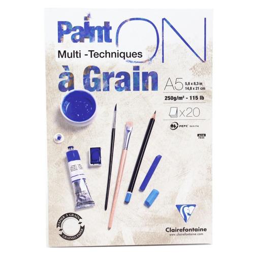 papel multi técnicas paint on a5 clairefontaine