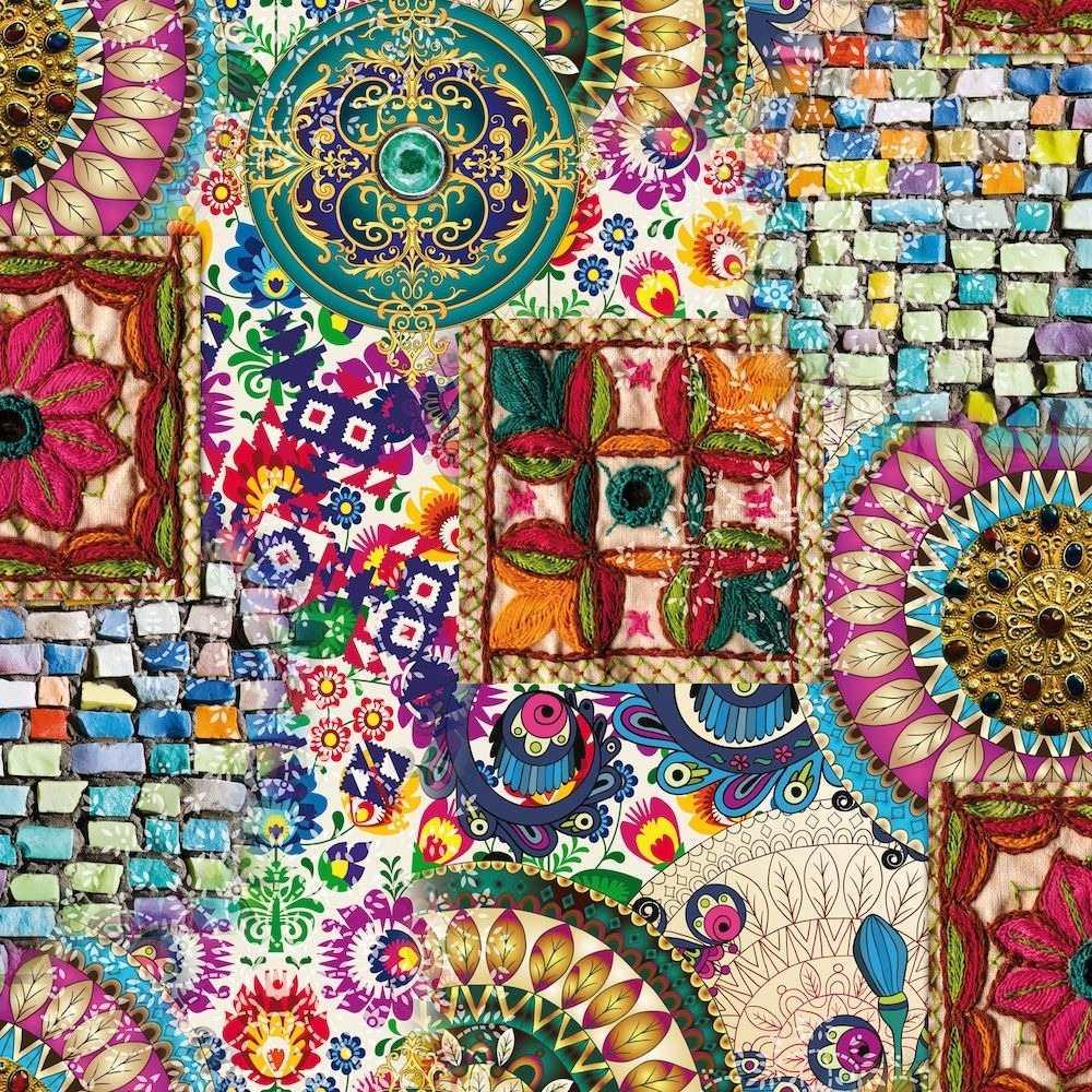 Papel Muresco Lavable Allegra 73121 Mandalas Colores Tejido