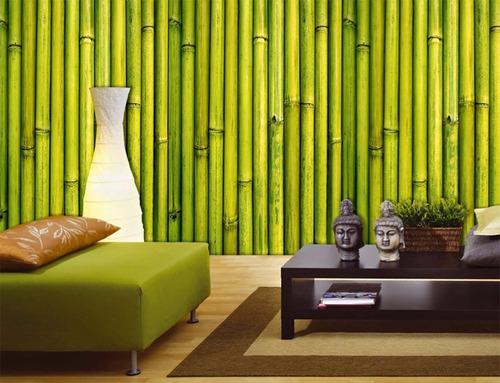 papel muresco zen cañas bambu verde natural vinilizado 34761