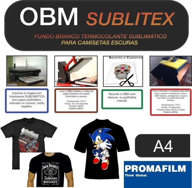 Papel Obm Sublimático Para Camisetas Escuras - A4- 10 Folhas - R  32 ... 8bce6d4101e