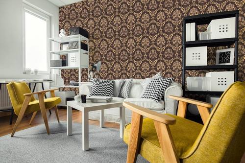 papel parede adesivo arabesco marrom