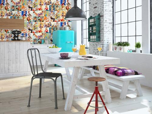 papel parede adesivo autocolante azulejo pin ups coloridas
