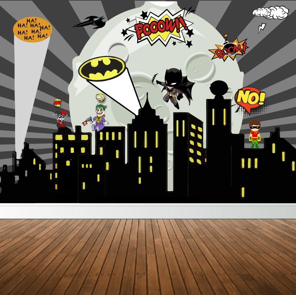 Aparador Para Sala De Estar Com Vidro ~ Papel Parede Adesivo Batman Cidade Quadrinhos Predios 2x1m R$ 89,99 em Mercado Livre