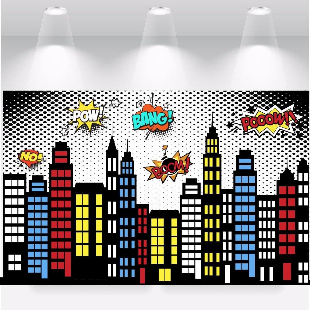Papel Parede Adesivo Cidade Herois Quadrinhos 1x1m R 69 99 Em