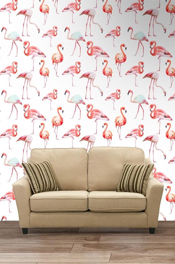 Papel parede adesivo flamingos para sala quarto - Papel decorado para paredes ...