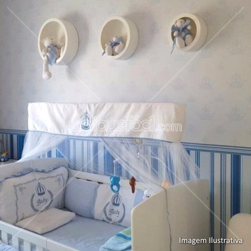 874ec07e5 Papel Parede Adesivo Inf. Bebê Listrado Azul Yan 9m - R  133