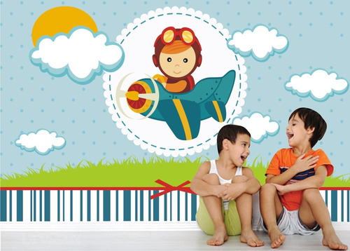 papel parede adesivo menino infantil bebe aviador avião m30