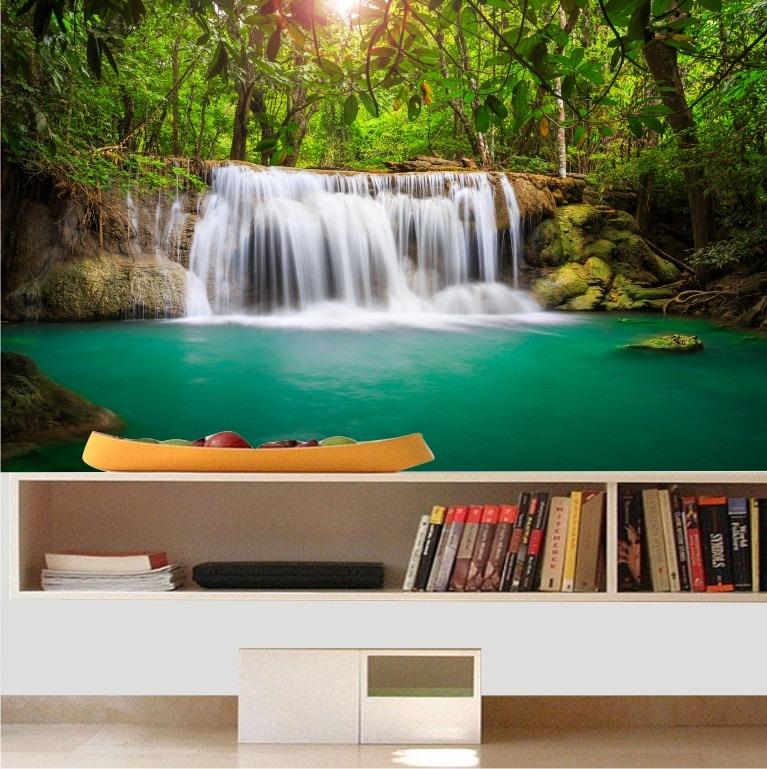 Papel parede adesivo painel paisagem cachoeira natureza - Papel adhesivo para paredes ...