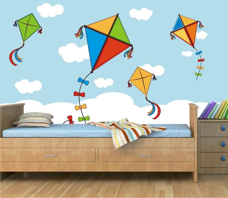 Papel parede adesivo quarto menino pipa nuvens infantil for Papel decorativo pared infantil