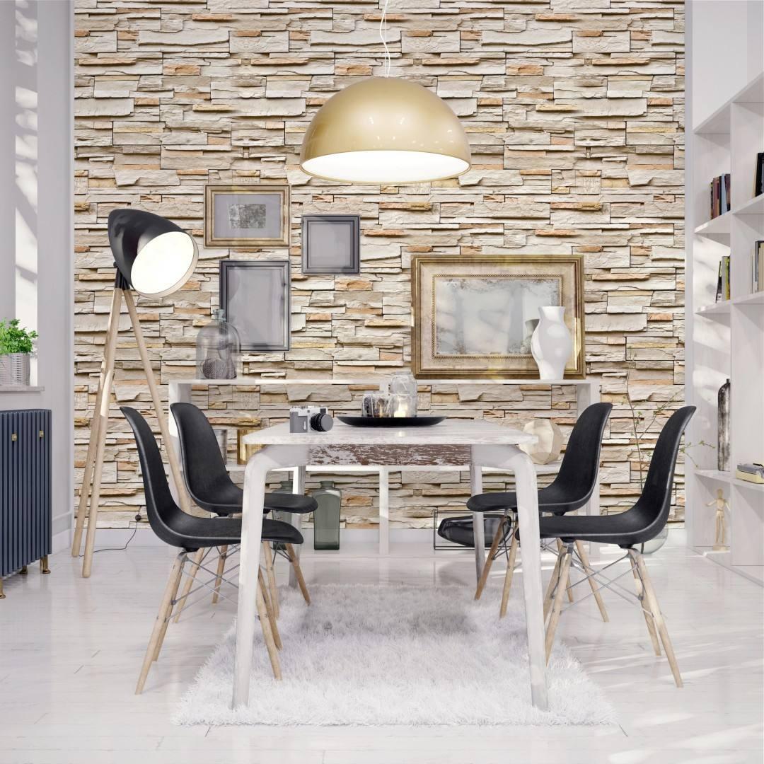 Papel parede adesivo vinilico imita pedra canjiquinha bege - Papel vinilico para paredes ...