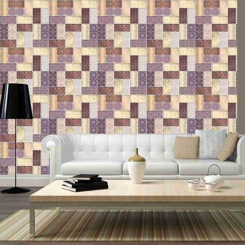 papel parede arabesco montagem piso colorido vários desenhos