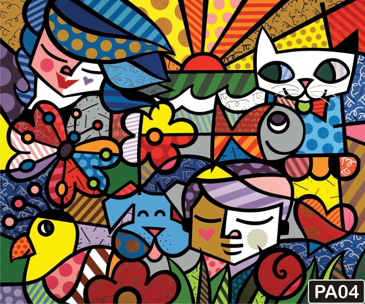 Papel De Parede Romero Britto Pop Art Quadros Coloridos M²