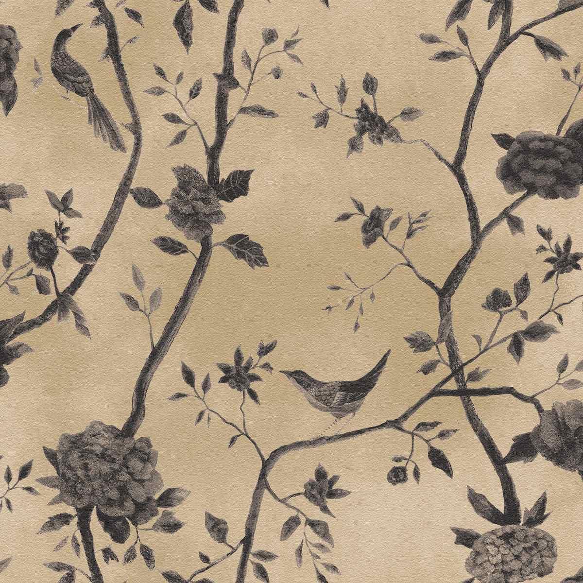 Papel Parede Bobinex Natural 1443 Bege Grafite P Ssaros Flor R  -> Modelos De Papel De Parede Em Forma De Flores