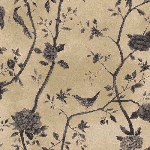 papel parede bobinex natural 1443 bege grafite pássaros flor