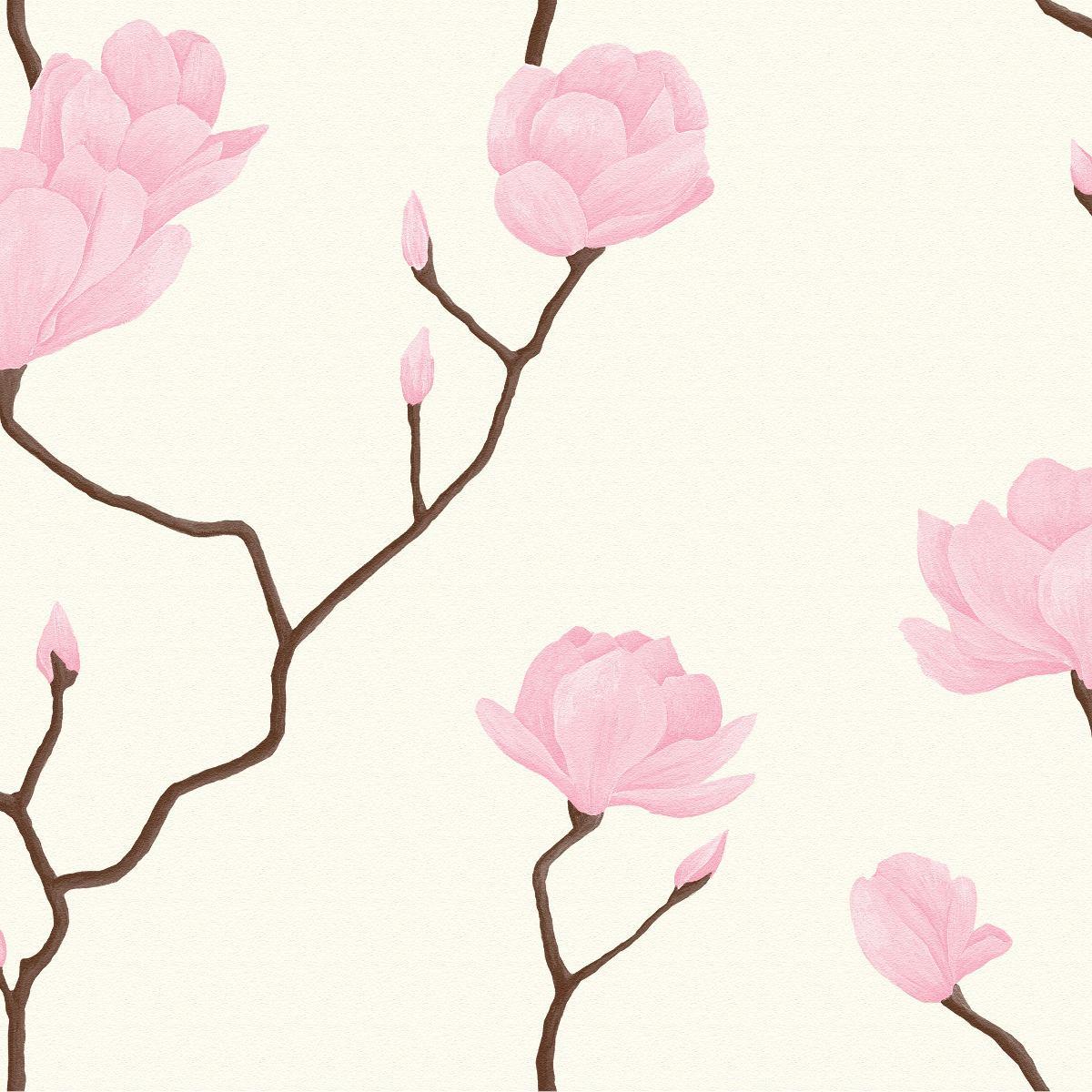 Papel Parede Bobinex Natural 1446 Galhos Flor Rosas Branco R 189  -> Modelos De Papel De Parede Em Forma De Flores