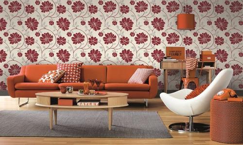 papel parede corium florido vermelho