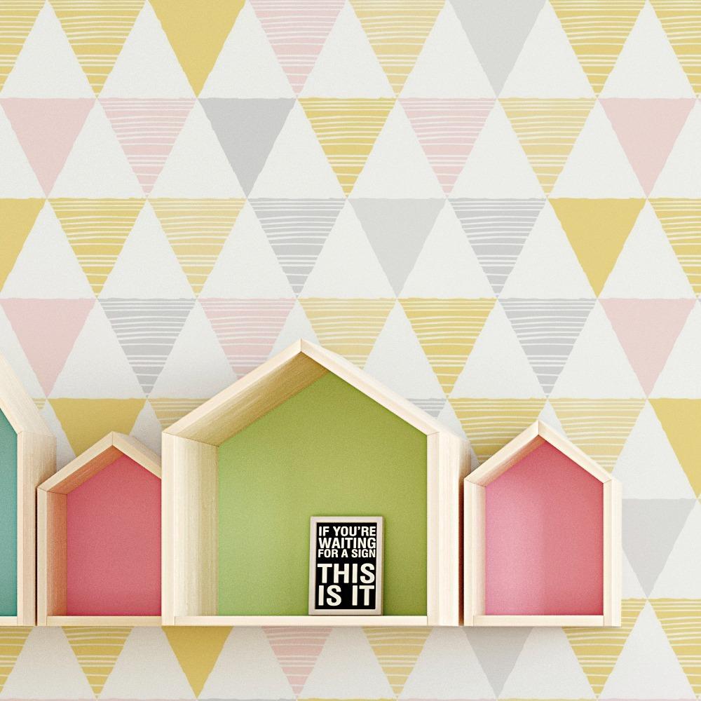 7509048ab Papel parede geométrico triângulo amarelo cinza rosa carregando zoom jpg  1000x1000 Amarelo papel parede geometrico cinza