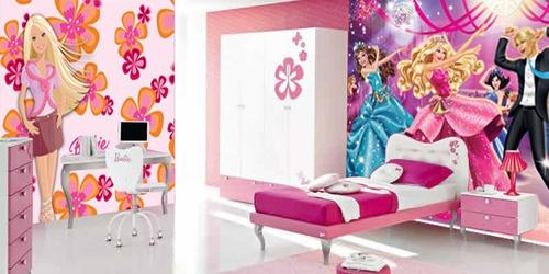 Papel De Parede Infantil Feminino Princesas Barbie Hello