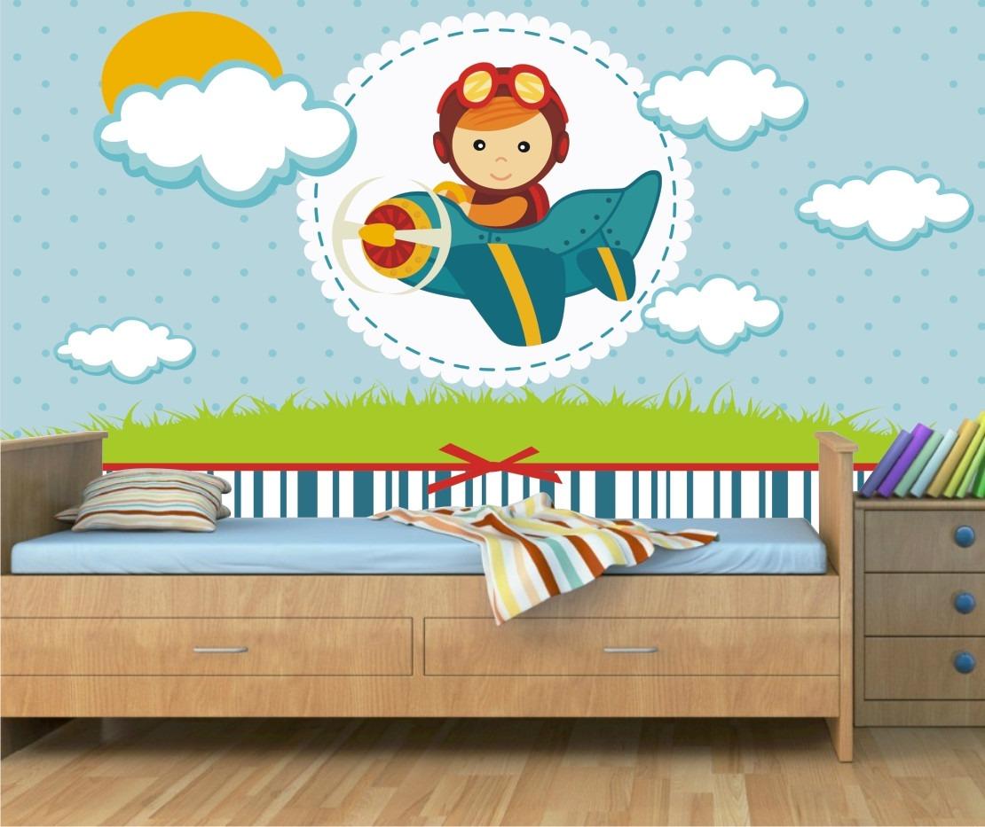Papel parede adesivo menino infantil bebe aviador avi o m30 r 99 00 em mercado livre - Papel para pared infantil ...